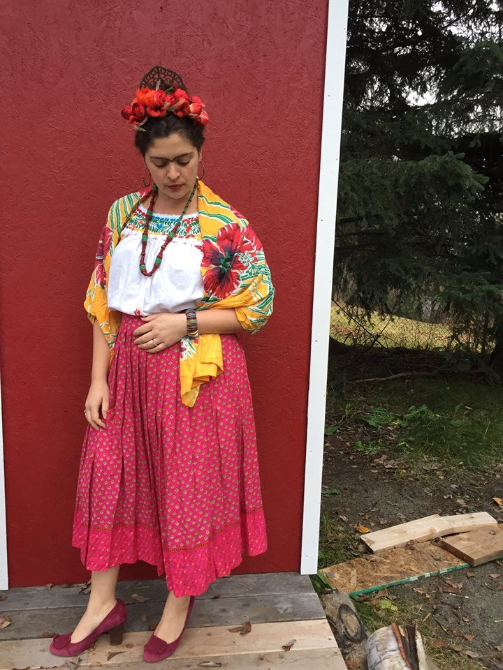 DIY Frida Kahlo Costume | Be colorful and support women with disabilities this Halloween with this easy costume. Flower crown tutorial included from Alaskaknitnat.com