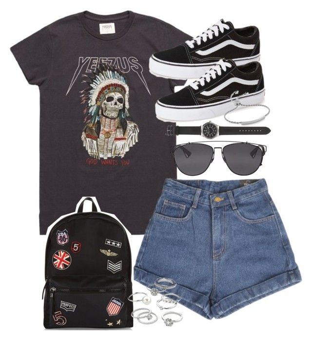 """""""Outfit for summer with shorts and vans"""" by ferned on Polyvore featuring Vans, New Look, Candie's, Christian Dior, J.Crew and Monica Vinader"""