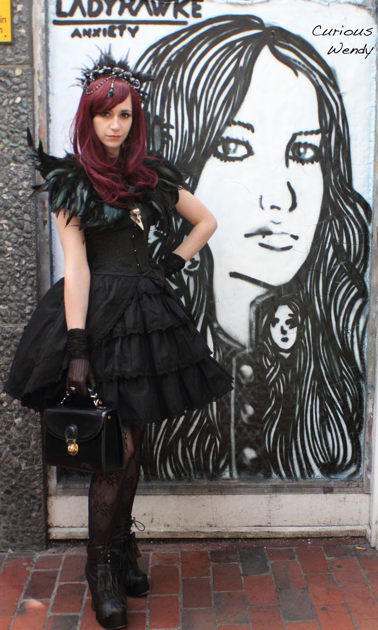 Gothic Lolita Fashion round the back of Rounder Records in Brighton, UK. Such a shame it's now closed down.