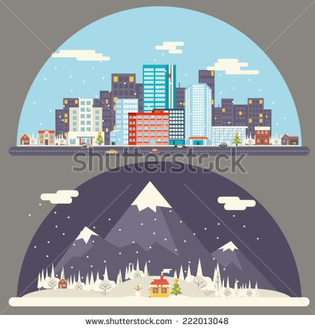 Winter Snow Urban Countryside Landscape City Village Real Estate New Year Christmas Night and Day Background Modern Flat Design Icon Template Vector Illustration