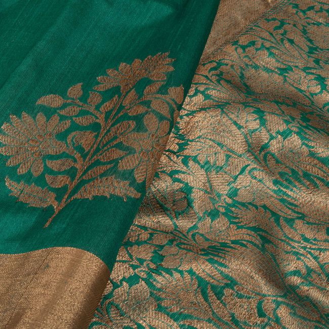 Handwoven Green Kadhwa Banarasi Tussar Silk Saree With Floral Butis 10014333