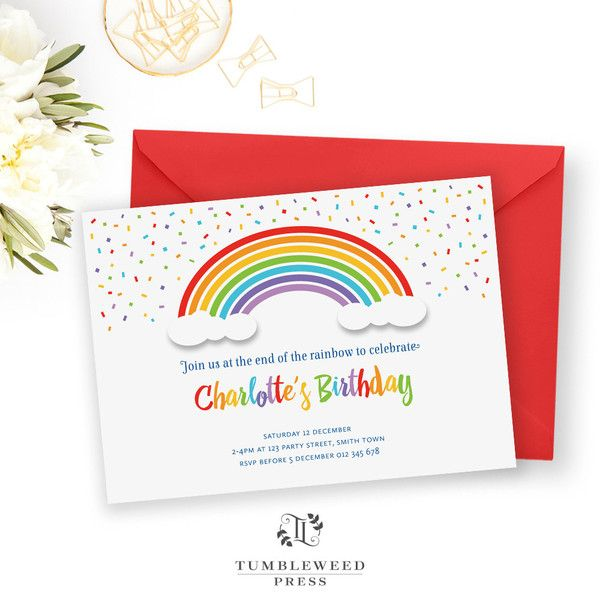 The 25 best Rainbow party invitations ideas – Invitation for Parties