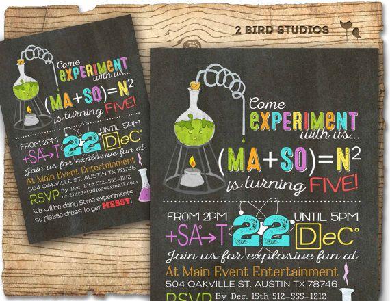 Science birthday party invitation Science by 2birdstudios on Etsy