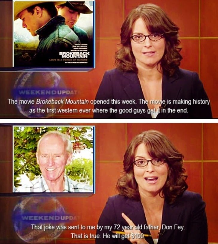 Tina Fey SNL Weekend Update. I love that her father sent her this joke hahahah this would be my dad
