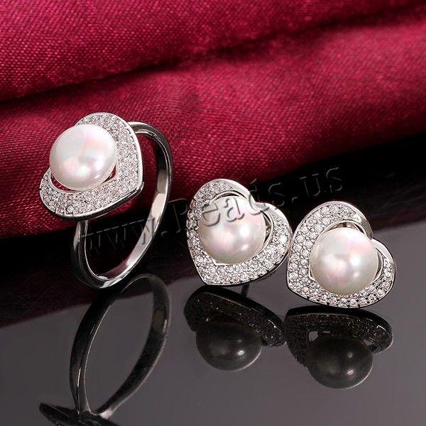 Favourer® ensemble de bijoux, bague, anneau & boucle d'oreille, laiton, avec coquille de mer du sud