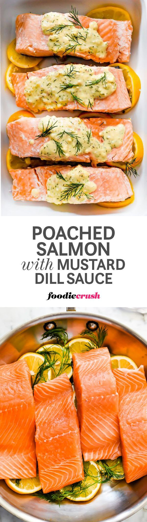 Poached in a lemon and herb flavored bath of white wine and water, this gently steamed salmon is ready for eating in just 15 minutes or less. Save the poaching liquid and add Dijon mustard, sour cream, and a few pats of butter for the a sauce every one will love | foodiecrush.com #salmon #poachedsalmon