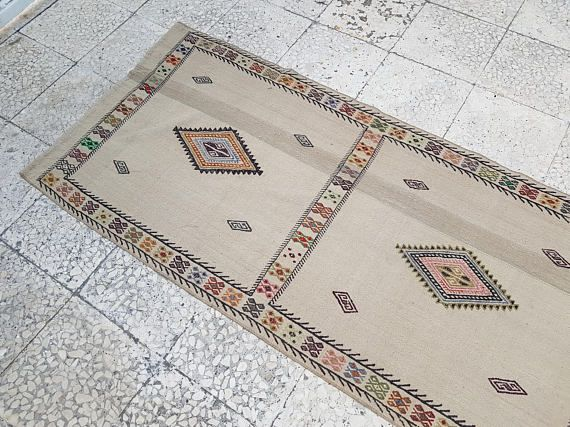 Vintage Woven Wool Natural Color Extra Long Kilim Rug Runner
