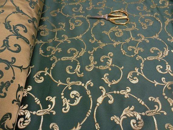 54 breit baumwolle mischung gold und gr n brokat stoff f r vorh nge fenster behandlungen. Black Bedroom Furniture Sets. Home Design Ideas