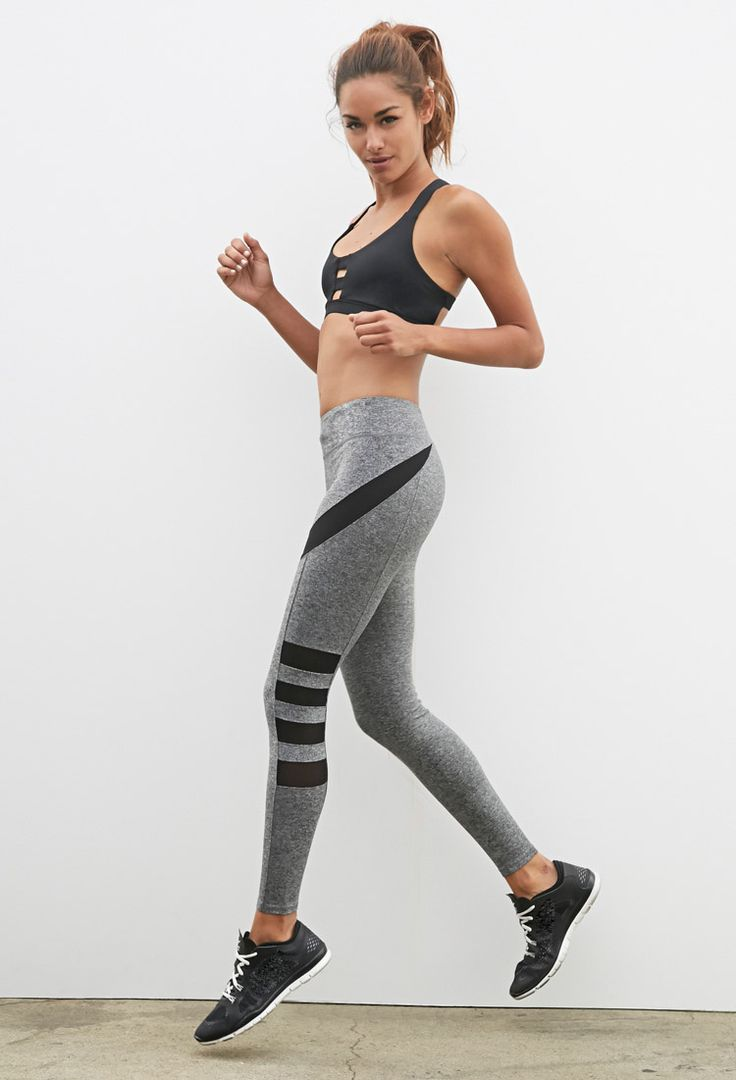 Heather Side-Mesh Athletic Leggings | Forever 21 - 2000130968