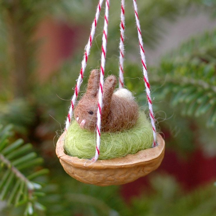 Walnut Bunny Ornament in Light Brown - Needle Felted Christmas Decoration. $25.00, via Etsy.