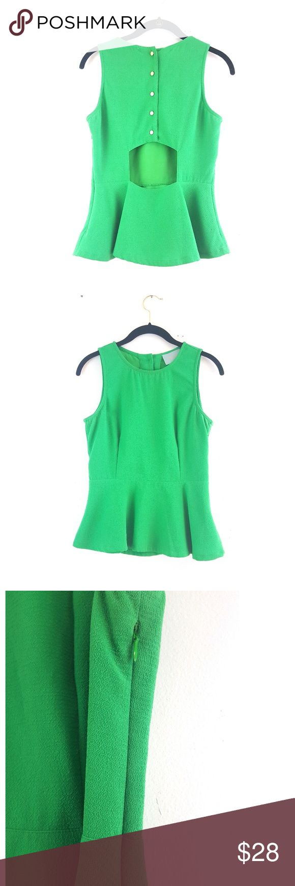 Bright Green Open Back Peplum Top Very beautiful and flattering peplum top! Sexy but subtle open back, side zipper, gold button detailing on back. Brand is Skies are Blue. In excellent condition!  ✔🔮 Feel free to ask questions! 💸🎉 Open to REASONABLE offers! 🌟🛍 Bundle for 20% off! Francesca's Collections Tops Blouses