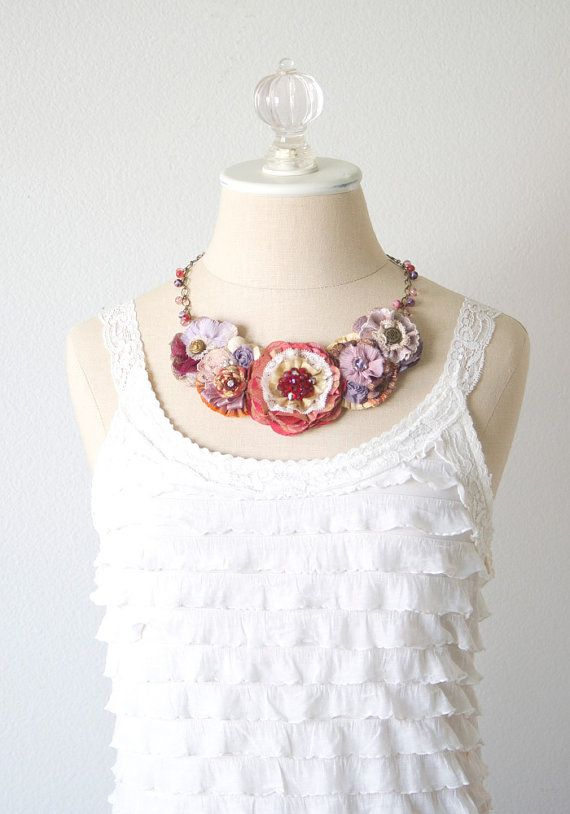 Fabric Flower Necklace Red and Purple Necklace от rosyposydesigns