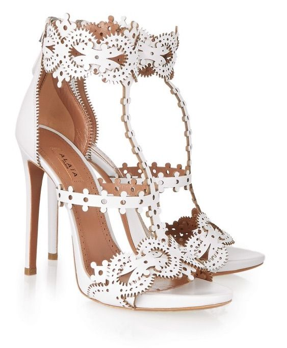 azzedine alaia laser cut white sandals heels zippers cut-out