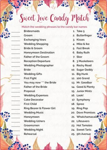 Sweet Love Candy Match Bridal Shower Game PRINTABLE