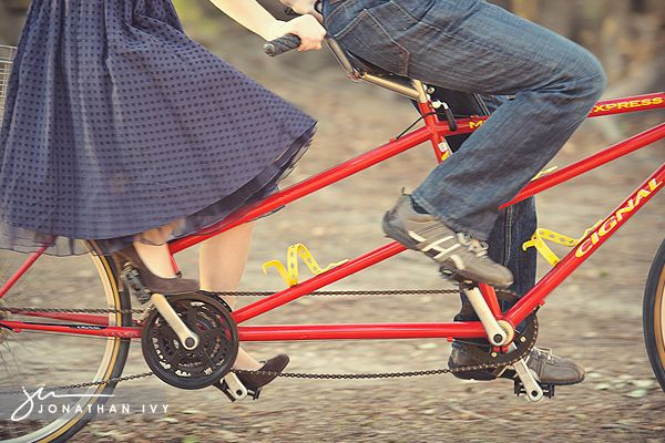 Red tandem bike