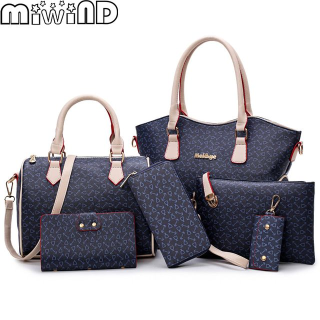 Amazing Deal $32.06, Buy 2017 New Women Bags Leather Handbags Fashion Shoulder Bag Female Purse High Quality 6-Piece Set Designer Brand Bolsa Feminina