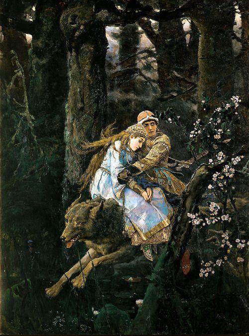 Ivan Zarevitch on the grey Wolf (1889) by Viktor M. Vasnetsov (1848–1926).  Tretyakov Gallery, Moscow. Wikimedia.