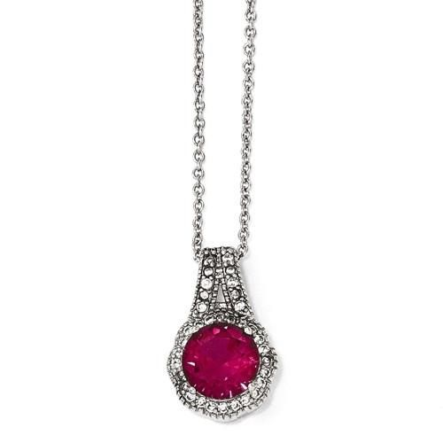 Cheryl M Sterling Silver Created Ruby & CZ Halo Round Pendant Necklace