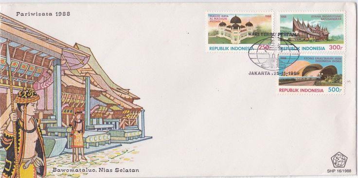 FDC Pariwisata 1988  (Mesjid Raya Al Mashun Medan, Istana Pagarruyung Batusangkar dan Teater Keong Mas Taman Mini Jakarta)