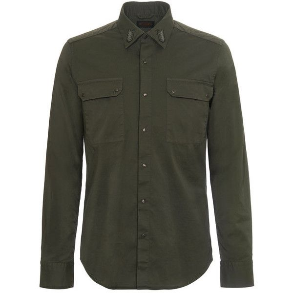 Tod's Cotton Shirt ($695) ❤ liked on Polyvore featuring men's fashion, men's clothing, men's shirts, men's casual shirts, green, mens green shirt, mens casual button down shirts, mens pocket t shirts and mens pearl snap shirts