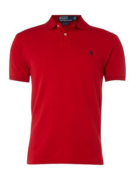 66fe5bef5d3b Polo Ralph Lauren Short-Sleeve Slim-Fit Polo Shirt - Red Mens Polo Ralph  Lauren Polo Shirts