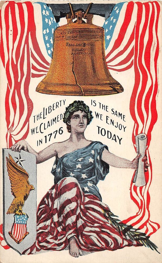 D41/ Fourth of July 4th Holiday Postcard Patriotic c'10 Lady Liberty Bell Eagle2