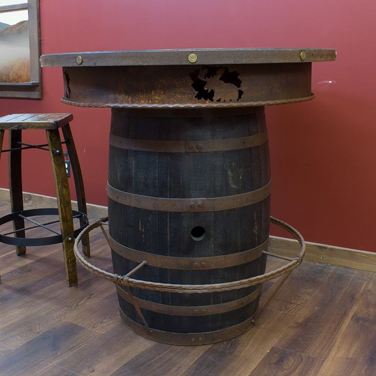 Whiskey Barrel Pub Table With Stool Home Pinterest