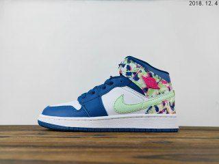 eb1c05916b7 Womens Winter Basketball Shoes Air Jordan 1 Mid GS Aj1 Sea blue White Light  green 555112
