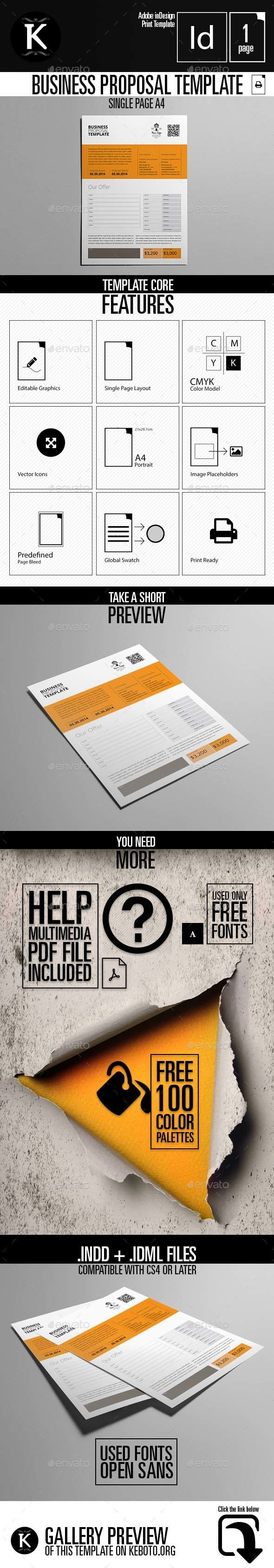 free proposal template%0A Business Proposal Template Single Page A    Proposals  u      Invoices  Stationery Download here
