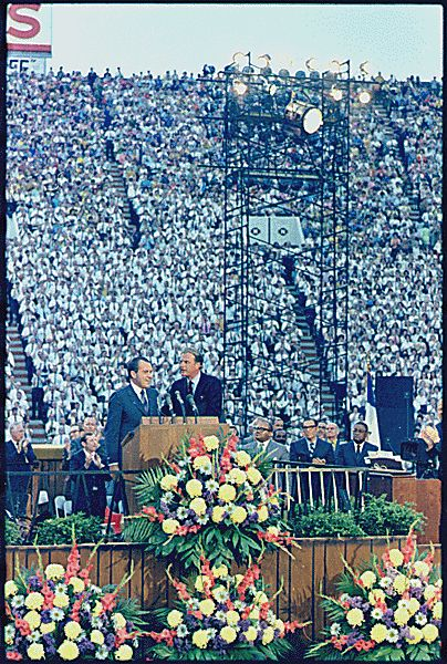 "Richard M. Nixon with Billy Graham at a ""BIlly Graham Crusade"", 05/28/1970"