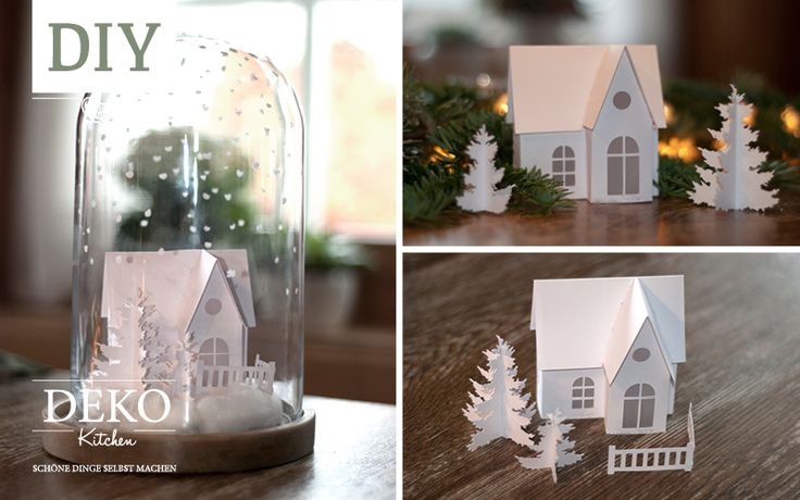 DIY: kleine Winterlandschaft aus Papier selbst basteln mit Tutorial und Template zum Ausdrucken!
