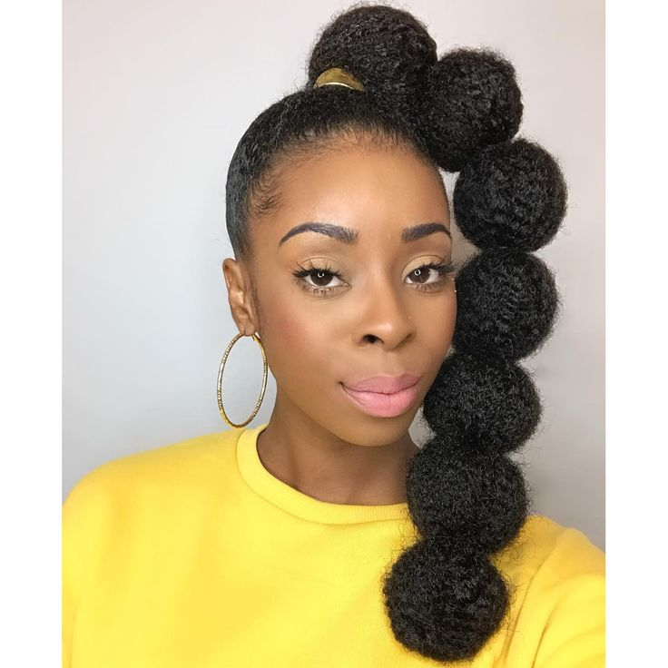 Afro Puff Bubble Ponytails Are Trending on Instagram | High ponytail hairstyles, Natural hair ...