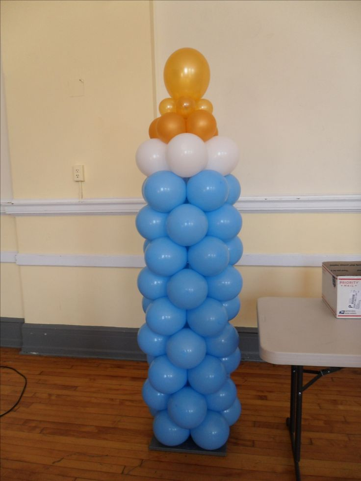 Best 20 blue balloons ideas on pinterest blue party for Baby bottle balloon decoration