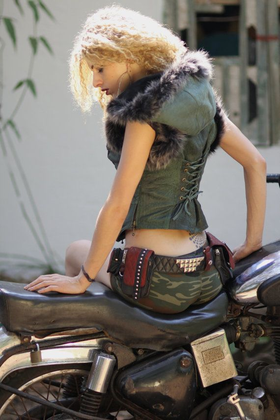 Dark Green Leather biker vest distressed leather burlesque vest waistcoat sheepskin and faux fur