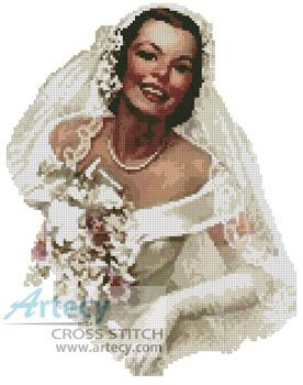Artecy Cross Stitch. Retro Bride Cross Stitch Pattern to print online.