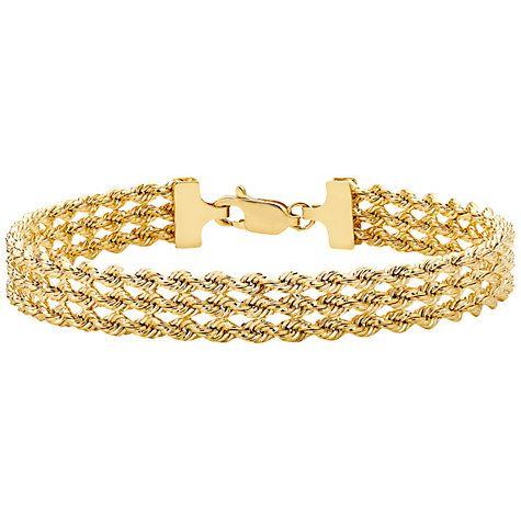 Buy IBB 9ct Gold Hollow 3 Strand Rope Bracelet, Gold Online at johnlewis.com