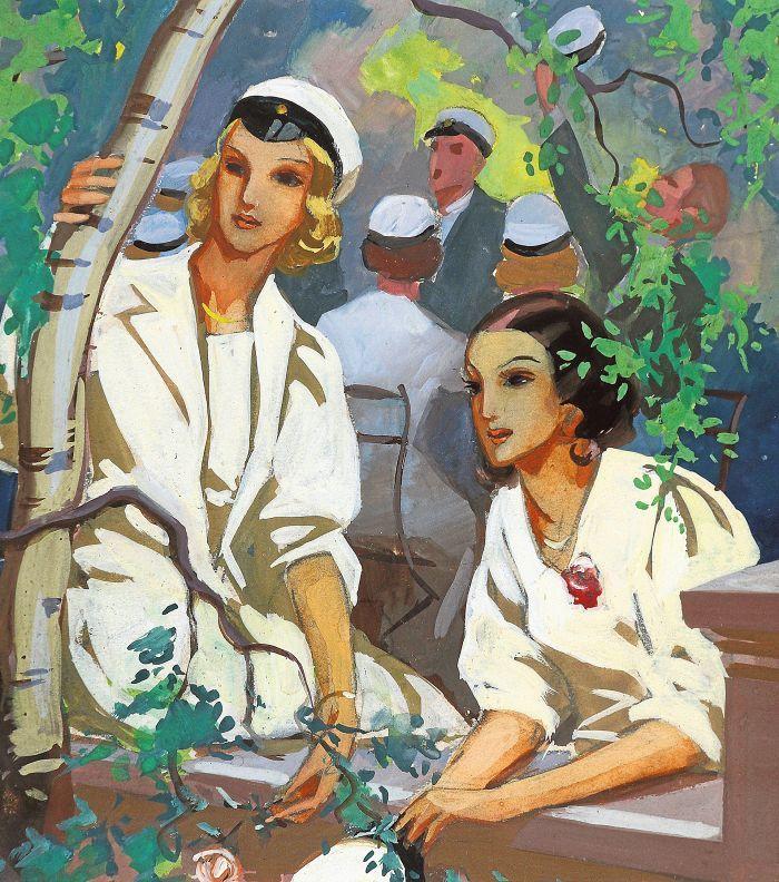 Martta Wendelin, Kirjan kansi. Mary Marck: Yhteiskoululaisia. Otava 1939, vesiväri.  Tuusulan taidemuseo, kuvitustaiteen kokoelma.
