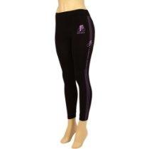Workout Training Athletic Leggings Stretchy Black with Purple Stripes