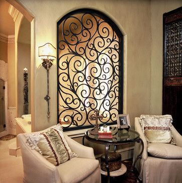 Love the iron work in the opening. Great idea that adds so much to the  space! Mediterranean Living Room Design, Pictures, Remodel, Decor and Ideas  - page 12