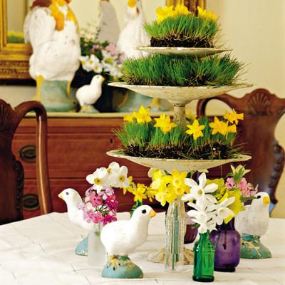 cuteSouthern Living, Easter Centerpieces, Easter Table, Flower Centerpieces, Wheat Grass, Wheatgrass, Tables Centerpieces, Spring Centerpieces, Chicks Centerpieces