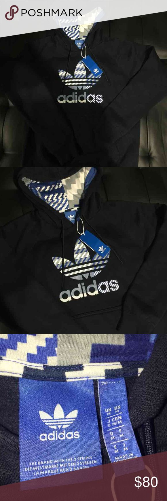 Adidas Originals Navy Blue Trefoil Hoodie Adidas Originals Trefoil Navy Blue Hoodie Brand new with original tags Size womens medium Made of very good thick material  100% AUTHENTIC Adidas Tops Sweatshirts & Hoodies