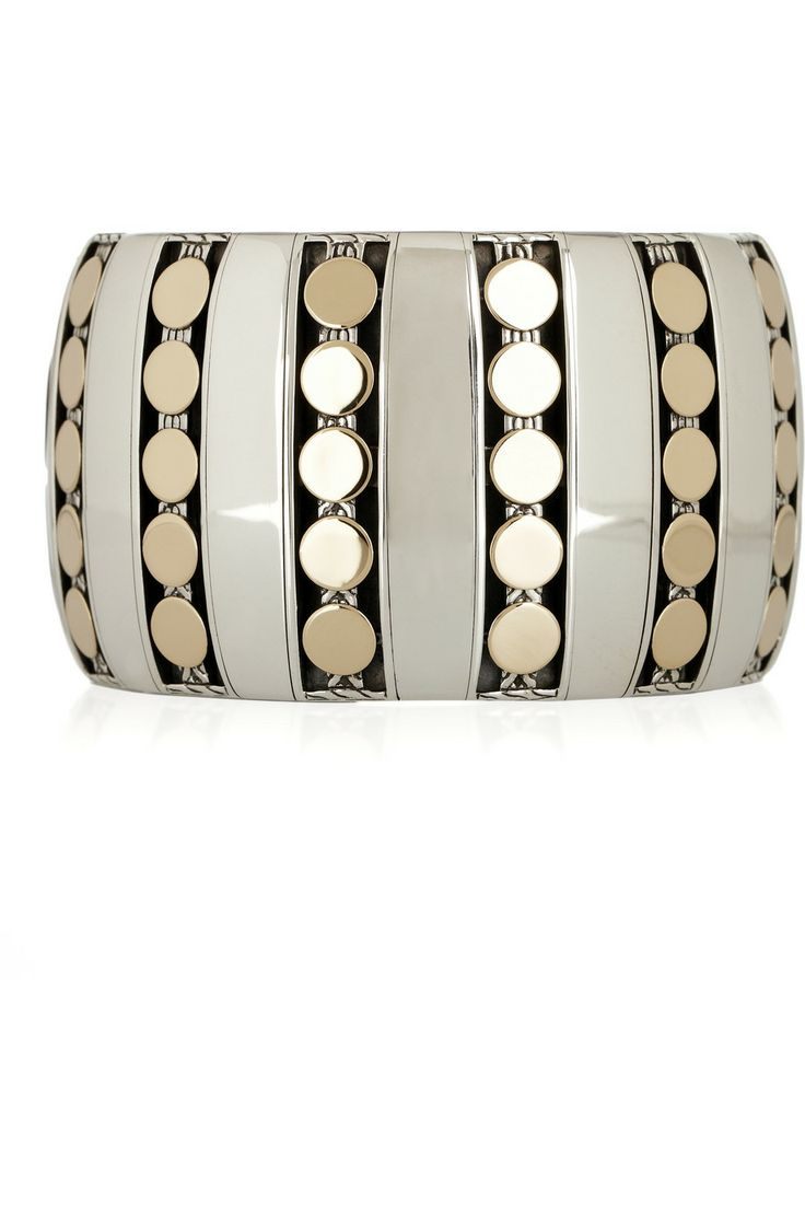 John Hardy; Dot Deco Cuff; 18K Gold and Sterling Silver
