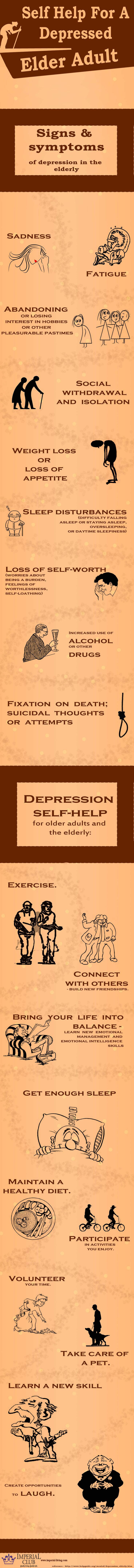 Self help for a depressed Elder Adult – infographics  :   If you are tired of home ownership or isolation of living alone, Welcome to Imperial Club, which is Aventura's finest Independent and Assisted Living rental retirement communities.  http://www.imperial-living.com/about-us