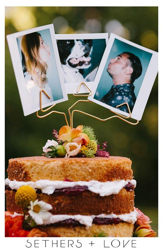 Guerneville Wedding: polaroid cake topper, naked cake, gold geometric, rainbow.