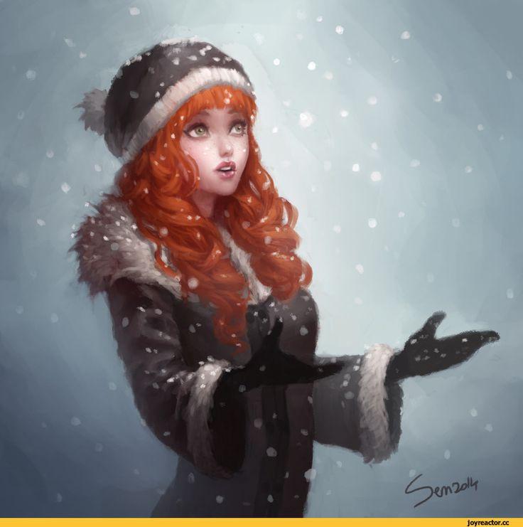 Женщина зимой картинки нарисованные