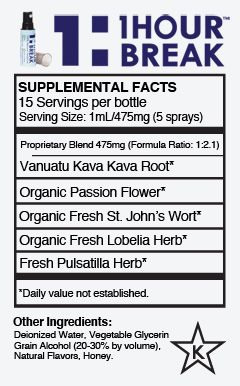 "Kava is a medically proven stress-relieving root that has been called ""the best anti-anxiety herb in the world."" It's known for its ability to produce a happy, calming effect, and has been used by people of the South Pacific for over 3000 years.   1Hour Break™ contains the powerful benefits of kava as well as other anti-anxiety herbs, including: organic passion flower, St. John's Wort, lobelia herb, and fresh pulsatilla."