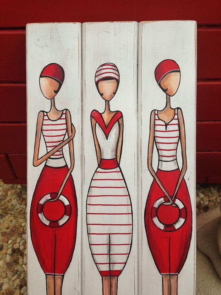 """Triptyque """"Les baigneuse"""" peintes sur bois"""