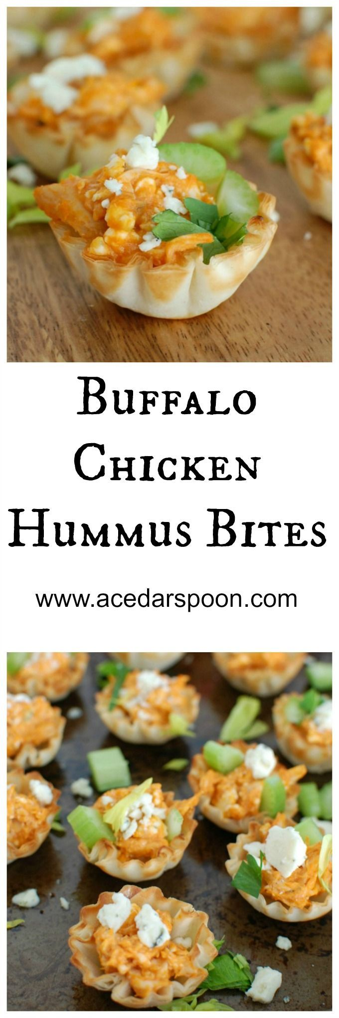 Buffalo Chicken Hummus Bites are a healthy twist on your favorite buffalo chicken dip using hummus instead of cream cheese.  This creamy, spicy dip is baked inside of a mini fillo dough shell and then topped with more fresh blue cheese and celery.  These are the ultimate tailgating appetizer!// A Cedar Spoon