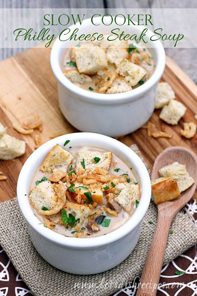 Philly Cheese Steak Soup (Slow Cooker) with Hamilton Beach #recipe