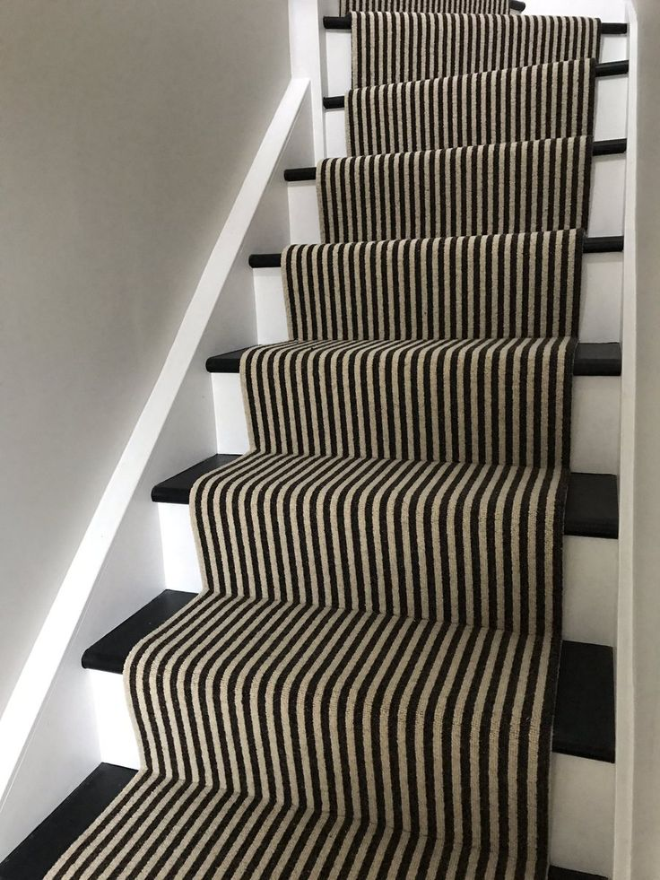 Stripes on the stairs, installed by NFB Flooring. Carpet by Kingsmead Carpets.
